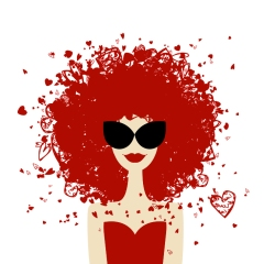 Woman portrait with orange hairstyle, summer style  for your des